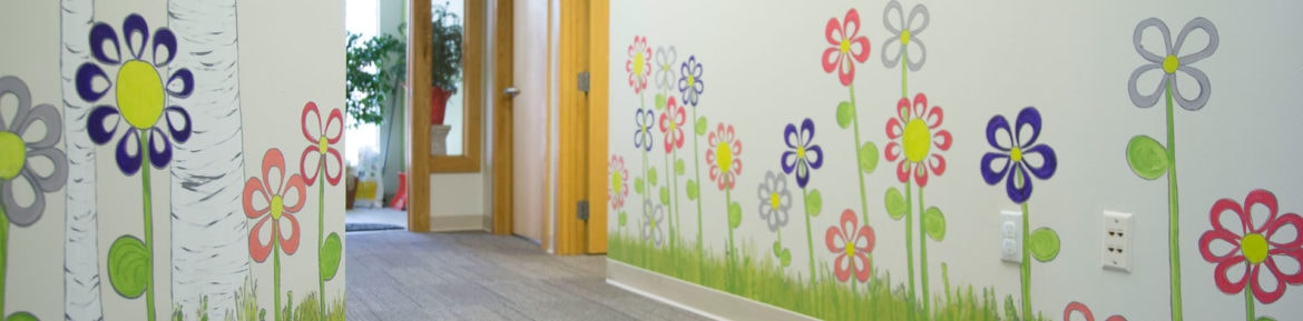 flowers painted on a wall